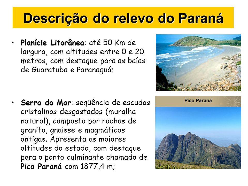 Descrição do relevo do Paraná Planície LitorâneaPlanície Litorânea: até 50 Km de largura, com altitudes entre 0 e 20 metros, com destaque para as baía