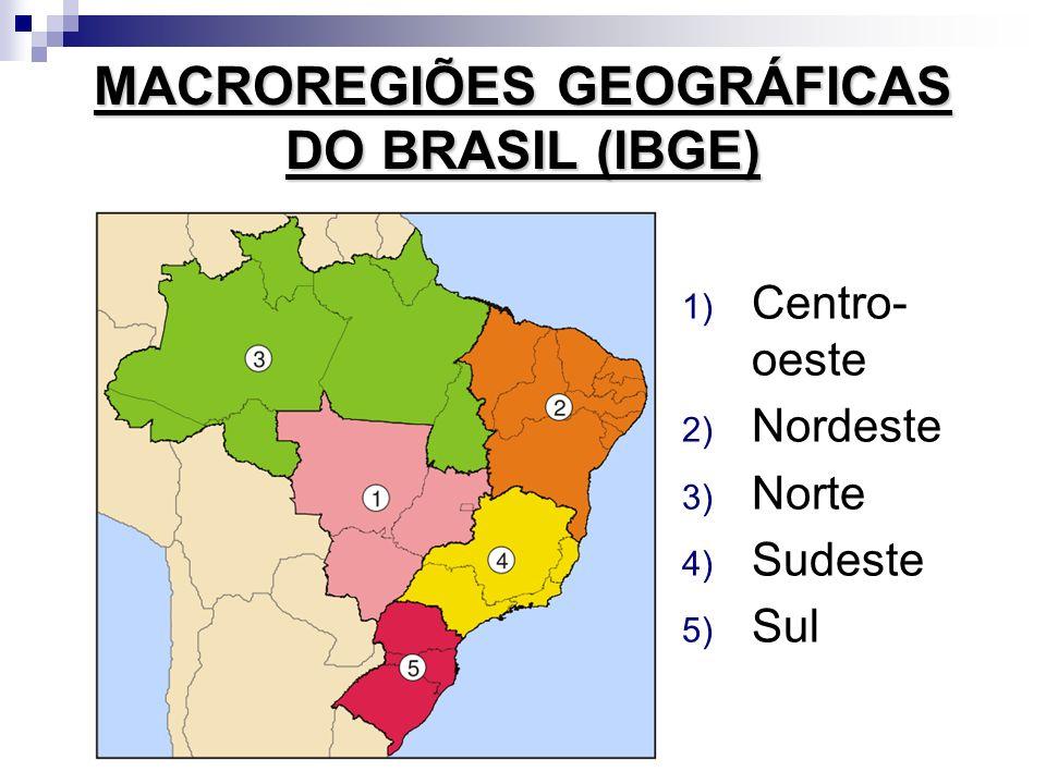 MACROREGIÕES GEOGRÁFICAS DO BRASIL (IBGE) 1) Centro- oeste 2) Nordeste 3) Norte 4) Sudeste 5) Sul