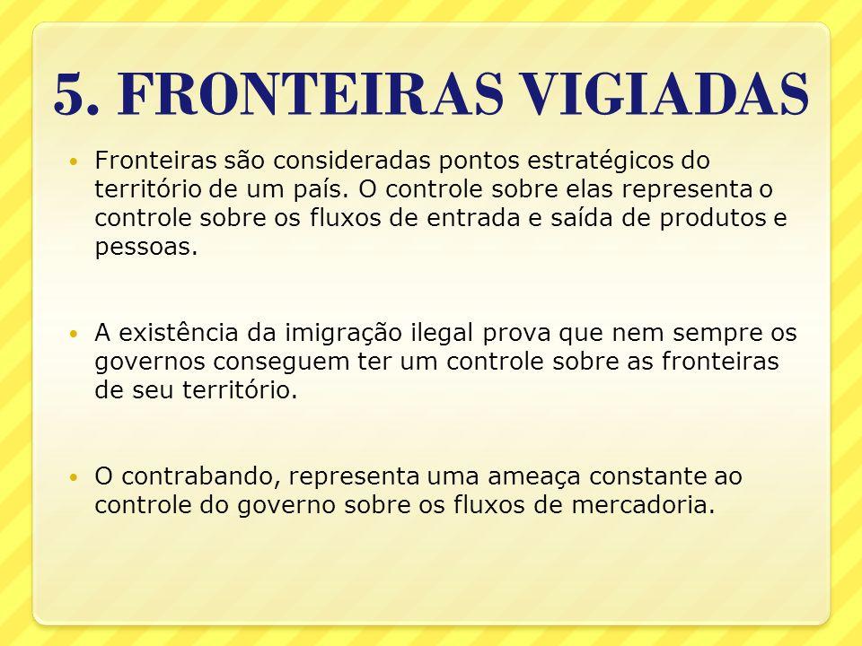 5. FRONTEIRAS VIGIADAS Fronteiras são consideradas pontos estratégicos do território de um país. O controle sobre elas representa o controle sobre os