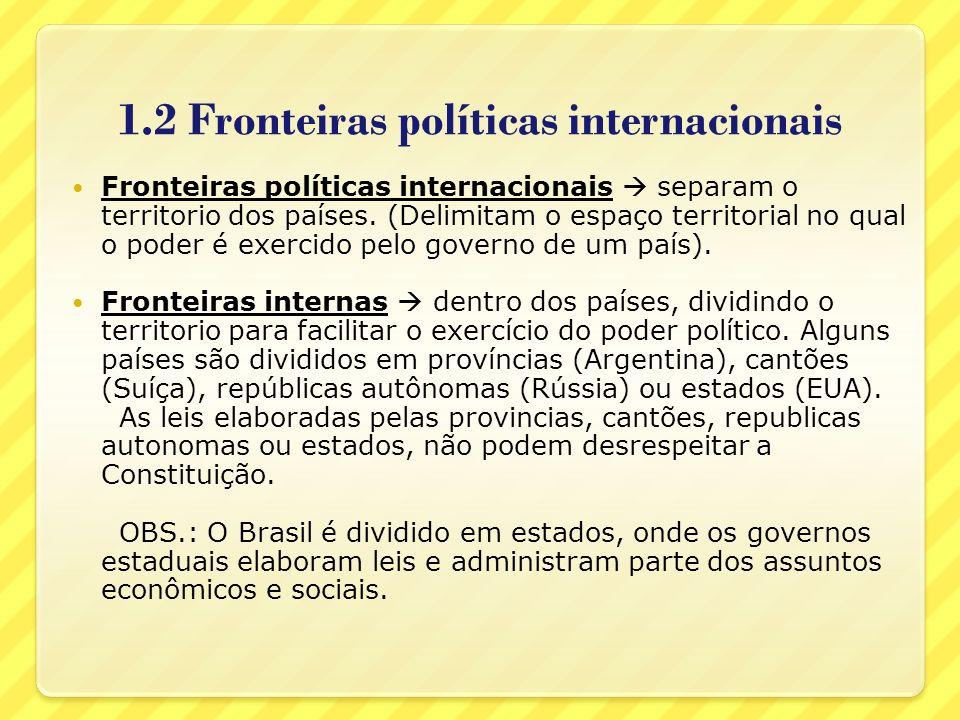 1.2 Fronteiras políticas internacionais Fronteiras políticas internacionais separam o territorio dos países. (Delimitam o espaço territorial no qual o