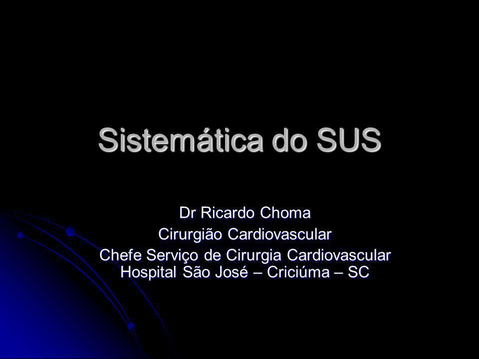 Sistemática do SUS Dr Ricardo Choma Cirurgião Cardiovascular Chefe Serviço de Cirurgia Cardiovascular Hospital São José – Criciúma – SC