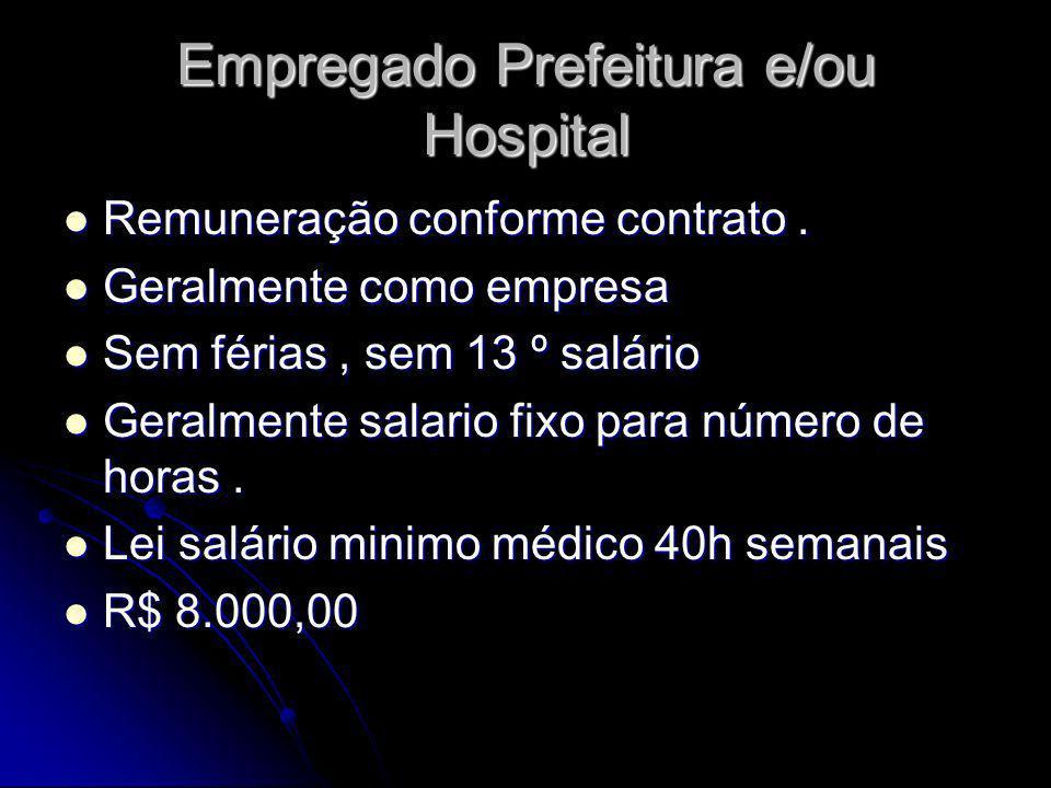 Empregado Prefeitura e/ou Hospital Remuneração conforme contrato. Remuneração conforme contrato. Geralmente como empresa Geralmente como empresa Sem f