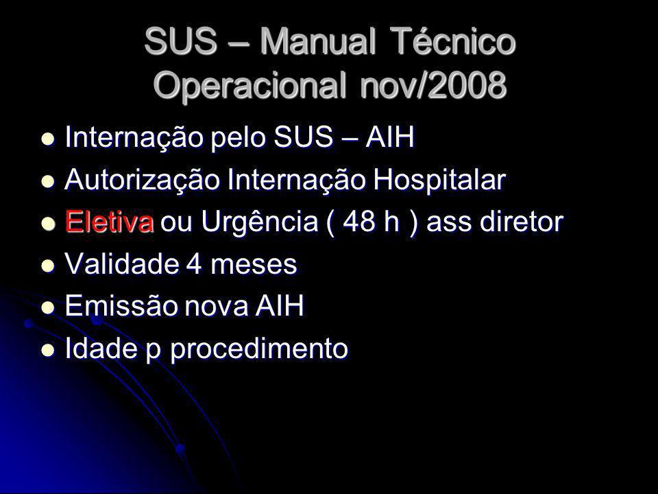 SUS – Manual Técnico Operacional nov/2008 Internação pelo SUS – AIH Internação pelo SUS – AIH Autorização Internação Hospitalar Autorização Internação