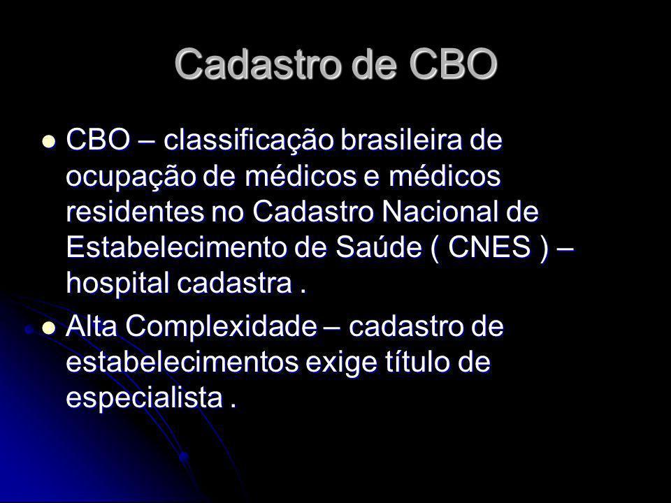 Cadastro de CBO CBO – classificação brasileira de ocupação de médicos e médicos residentes no Cadastro Nacional de Estabelecimento de Saúde ( CNES ) –