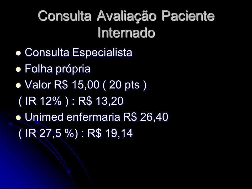 Consulta Avaliação Paciente Internado Consulta Especialista Consulta Especialista Folha própria Folha própria Valor R$ 15,00 ( 20 pts ) Valor R$ 15,00