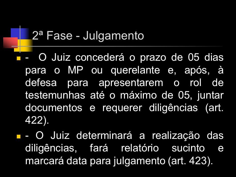 2ª Fase - Julgamento - O Juiz concederá o prazo de 05 dias para o MP ou querelante e, após, à defesa para apresentarem o rol de testemunhas até o máxi