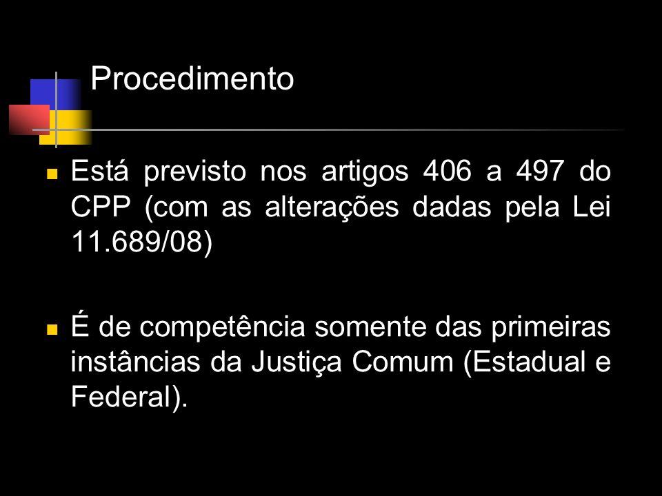 Procedimento Está previsto nos artigos 406 a 497 do CPP (com as alterações dadas pela Lei 11.689/08) É de competência somente das primeiras instâncias