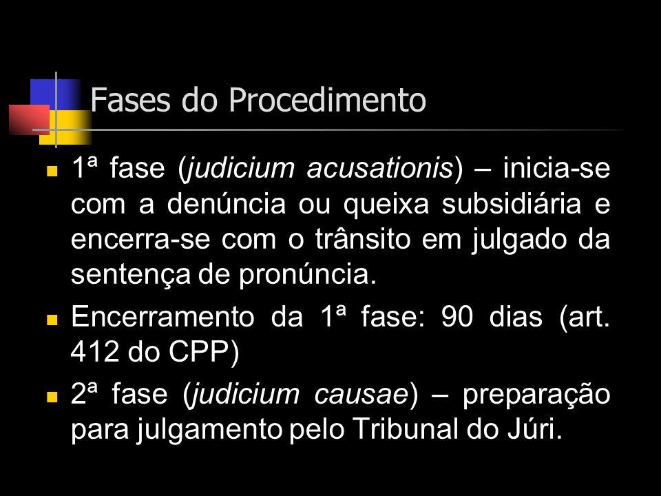 Fases do Procedimento 1ª fase (judicium acusationis) – inicia-se com a denúncia ou queixa subsidiária e encerra-se com o trânsito em julgado da senten