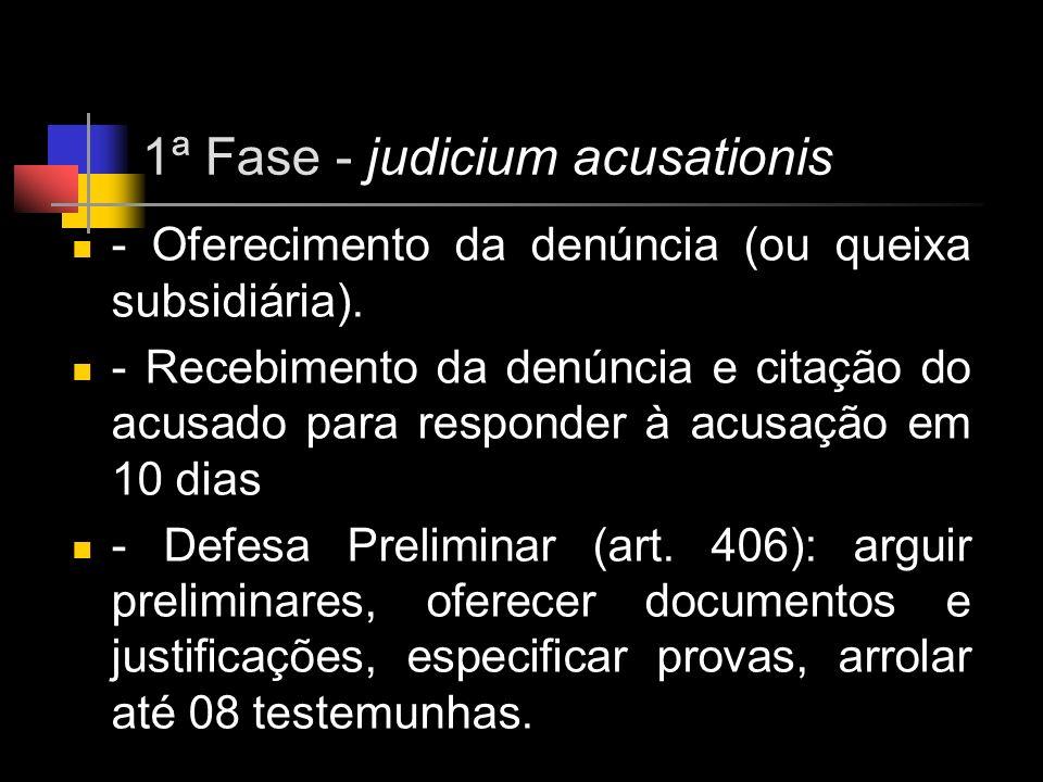 1ª Fase - judicium acusationis - Oferecimento da denúncia (ou queixa subsidiária). - Recebimento da denúncia e citação do acusado para responder à acu