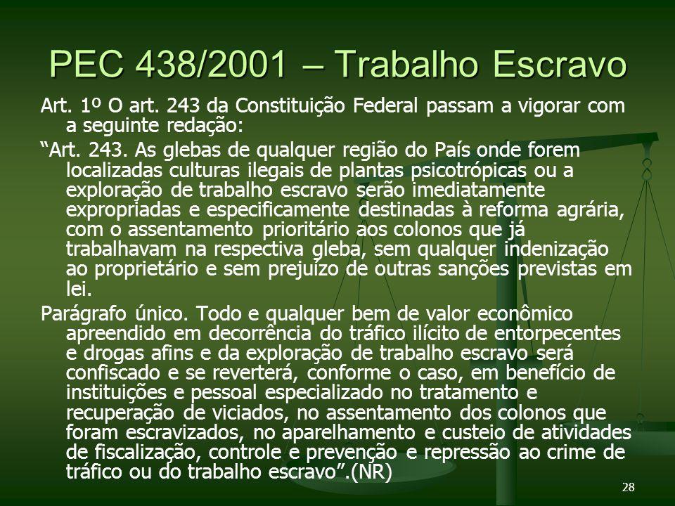 28 PEC 438/2001 – Trabalho Escravo Art. 1º O art. 243 da Constituição Federal passam a vigorar com a seguinte redação: Art. 243. As glebas de qualquer