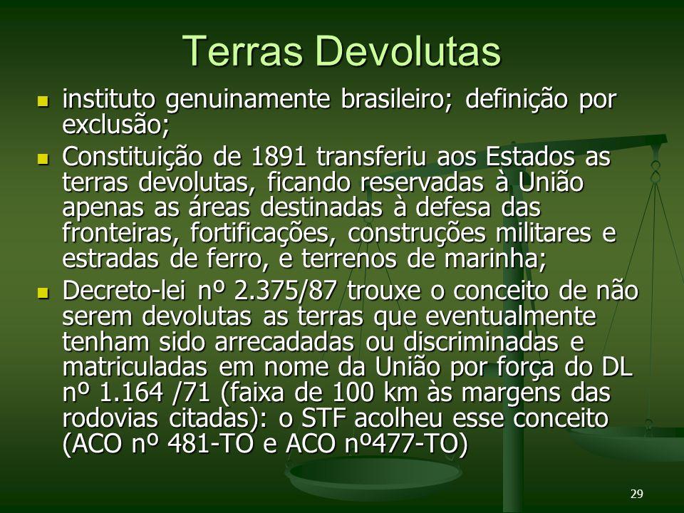 29 Terras Devolutas instituto genuinamente brasileiro; definição por exclusão; instituto genuinamente brasileiro; definição por exclusão; Constituição