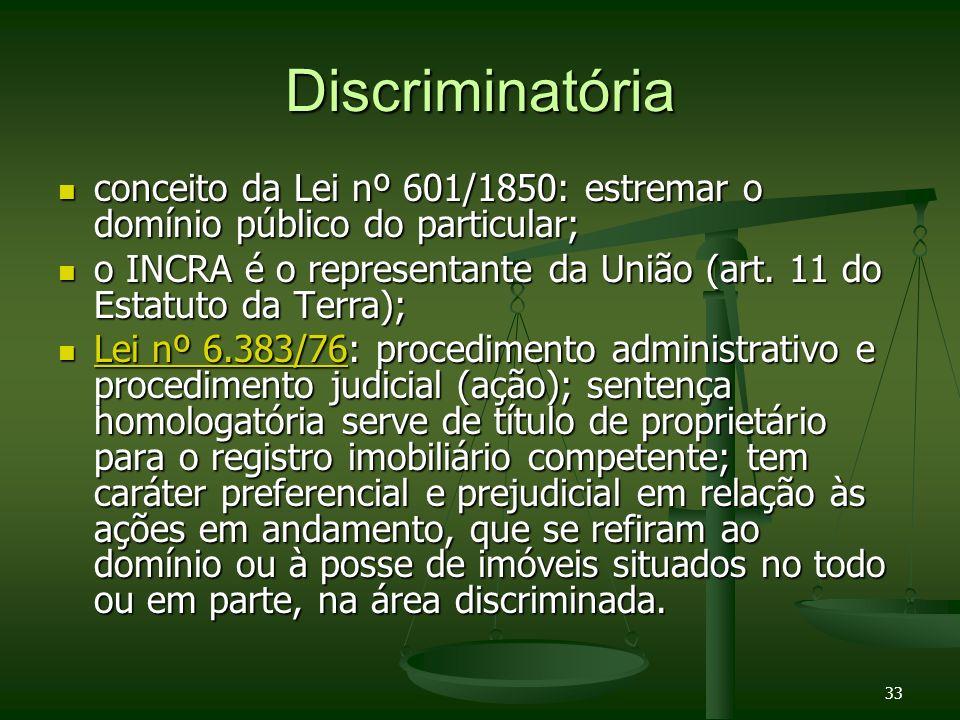 33 Discriminatória conceito da Lei nº 601/1850: estremar o domínio público do particular; conceito da Lei nº 601/1850: estremar o domínio público do p