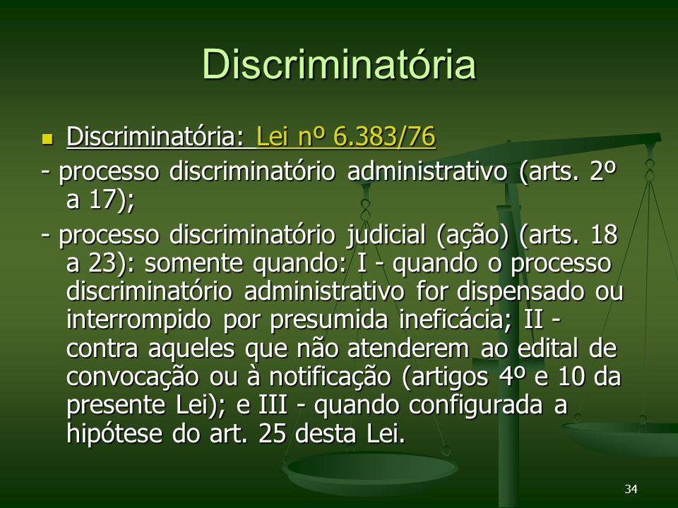 34 Discriminatória Discriminatória: Lei nº 6.383/76 Discriminatória: Lei nº 6.383/76Lei nº 6.383/76Lei nº 6.383/76 - processo discriminatório administ