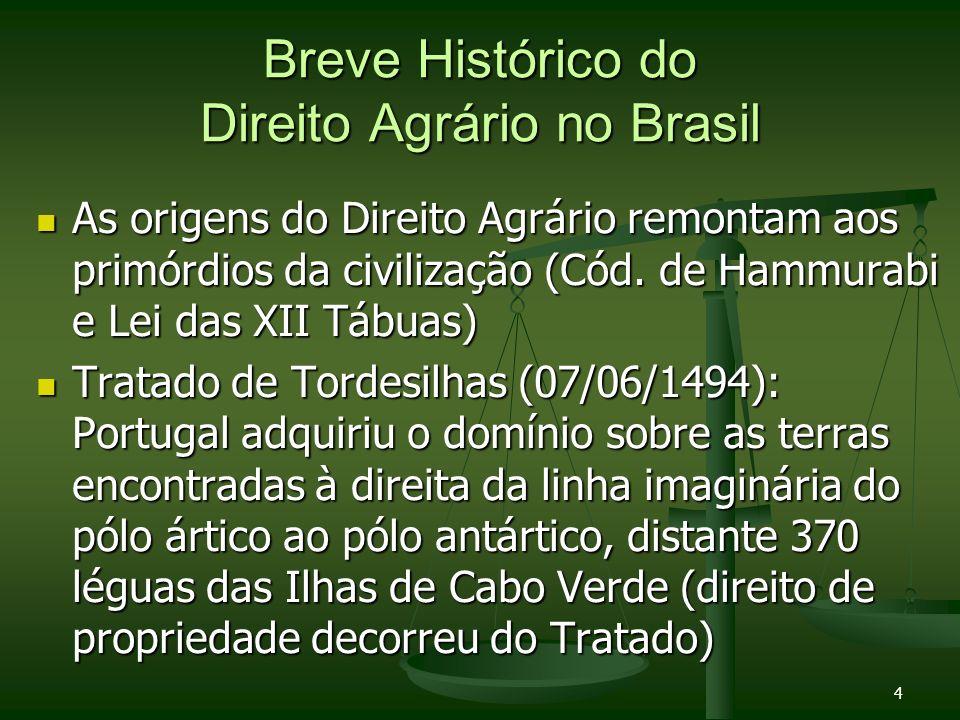 4 Breve Histórico do Direito Agrário no Brasil As origens do Direito Agrário remontam aos primórdios da civilização (Cód. de Hammurabi e Lei das XII T