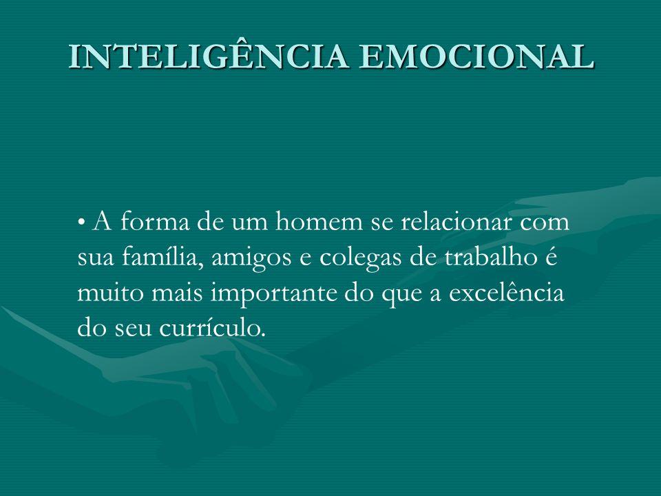 INTELIGÊNCIA EMOCIONAL A forma de um homem se relacionar com sua família, amigos e colegas de trabalho é muito mais importante do que a excelência do