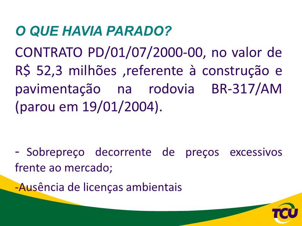 O QUE HAVIA PARADO? CONTRATO PD/01/07/2000-00, no valor de R$ 52,3 milhões,referente à construção e pavimentação na rodovia BR-317/AM (parou em 19/01/