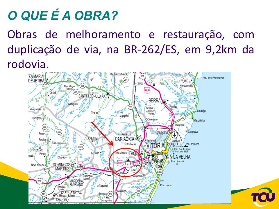 18 O QUE É A OBRA? Obras de melhoramento e restauração, com duplicação de via, na BR-262/ES, em 9,2km da rodovia.