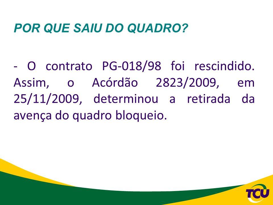 POR QUE SAIU DO QUADRO? - O contrato PG-018/98 foi rescindido. Assim, o Acórdão 2823/2009, em 25/11/2009, determinou a retirada da avença do quadro bl