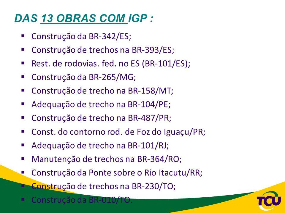 DAS 13 OBRAS COM IGP : Construção da BR-342/ES; Construção de trechos na BR-393/ES; Rest. de rodovias. fed. no ES (BR-101/ES); Construção da BR-265/MG