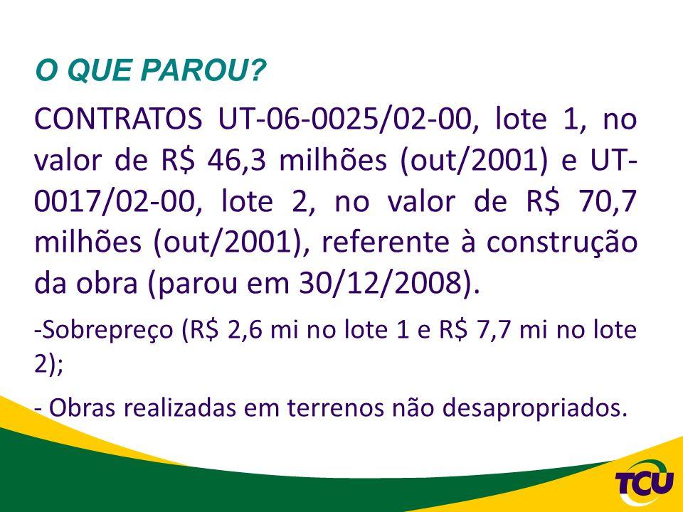 O QUE PAROU? CONTRATOS UT-06-0025/02-00, lote 1, no valor de R$ 46,3 milhões (out/2001) e UT- 0017/02-00, lote 2, no valor de R$ 70,7 milhões (out/200