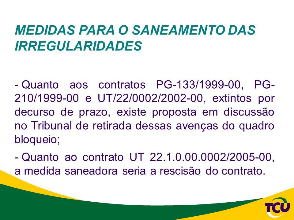 MEDIDAS PARA O SANEAMENTO DAS IRREGULARIDADES - Quanto aos contratos PG-133/1999-00, PG- 210/1999-00 e UT/22/0002/2002-00, extintos por decurso de pra