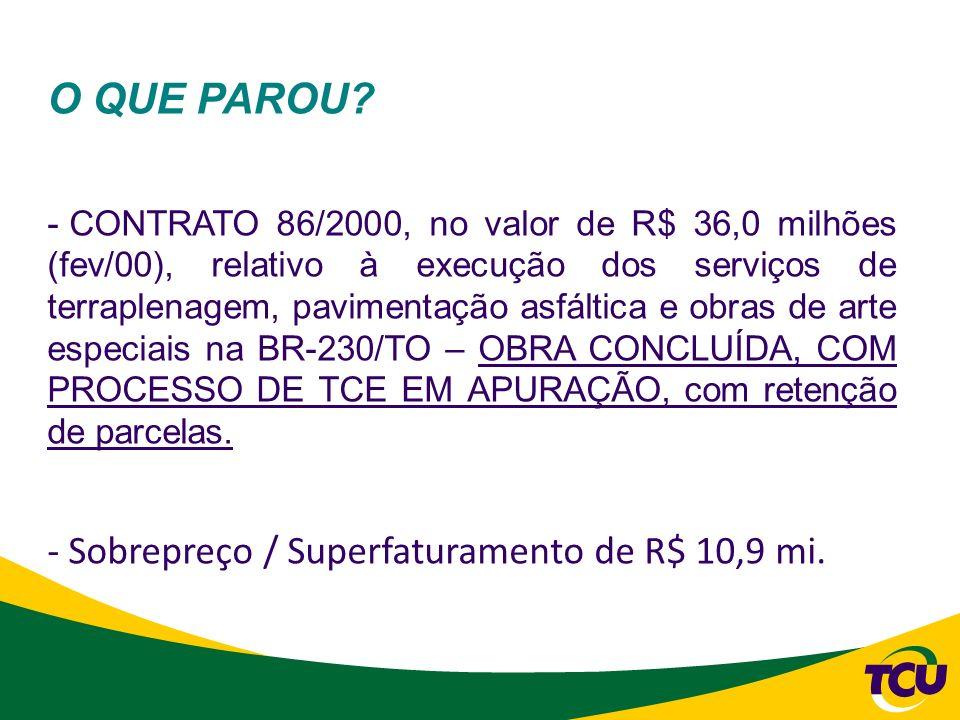 O QUE PAROU? - CONTRATO 86/2000, no valor de R$ 36,0 milhões (fev/00), relativo à execução dos serviços de terraplenagem, pavimentação asfáltica e obr