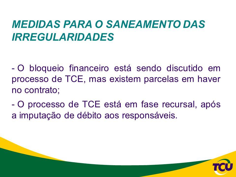 MEDIDAS PARA O SANEAMENTO DAS IRREGULARIDADES - O bloqueio financeiro está sendo discutido em processo de TCE, mas existem parcelas em haver no contra