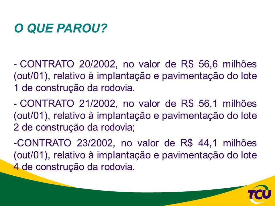 O QUE PAROU? - CONTRATO 20/2002, no valor de R$ 56,6 milhões (out/01), relativo à implantação e pavimentação do lote 1 de construção da rodovia. - CON