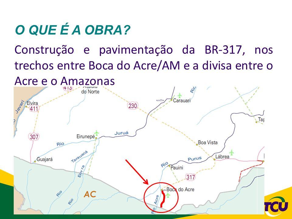 9 O QUE É A OBRA? Construção e pavimentação da BR-317, nos trechos entre Boca do Acre/AM e a divisa entre o Acre e o Amazonas