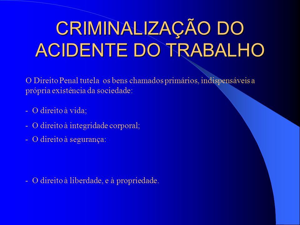 CRIMINALIZAÇÃO DO ACIDENTE DO TRABALHO O Direito Penal tutela os bens chamados primários, indispensáveis a própria existência da sociedade: - O direit
