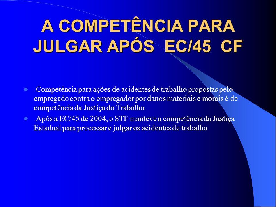 A COMPETÊNCIA PARA JULGAR APÓS EC/45 CF Competência para ações de acidentes de trabalho propostas pelo empregado contra o empregador por danos materia