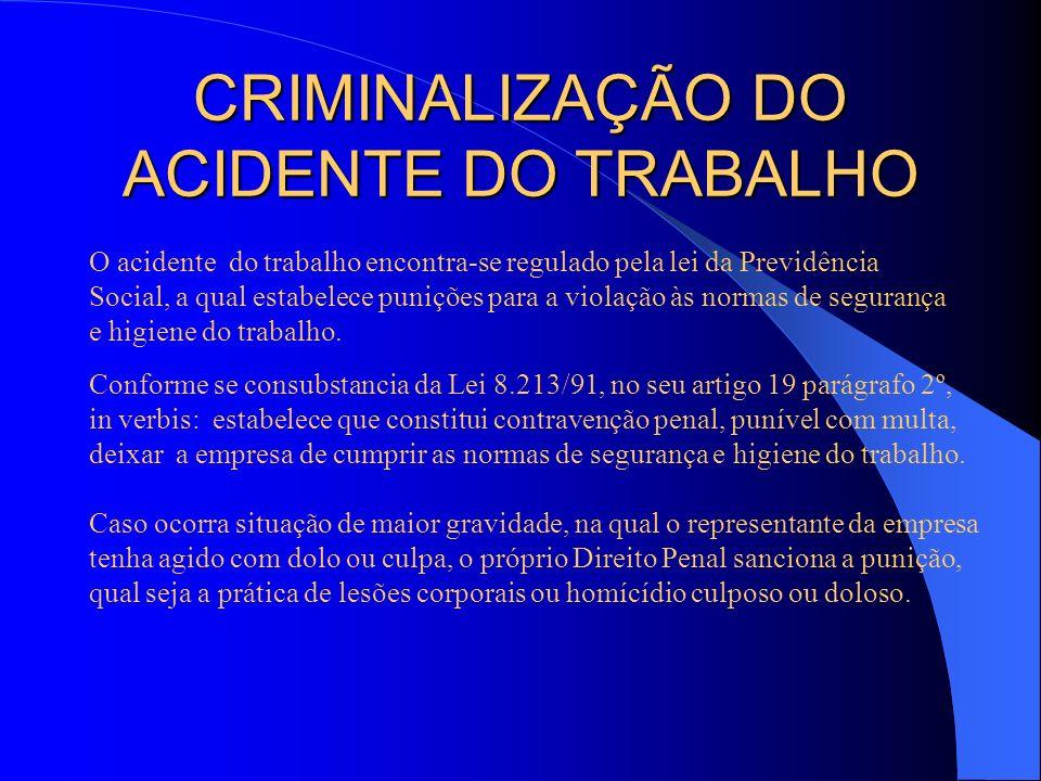 CRIMINALIZAÇÃO DO ACIDENTE DO TRABALHO O acidente do trabalho encontra-se regulado pela lei da Previdência Social, a qual estabelece punições para a v