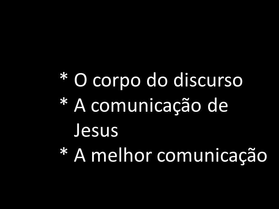 * O corpo do discurso * A comunicação de Jesus * A melhor comunicação