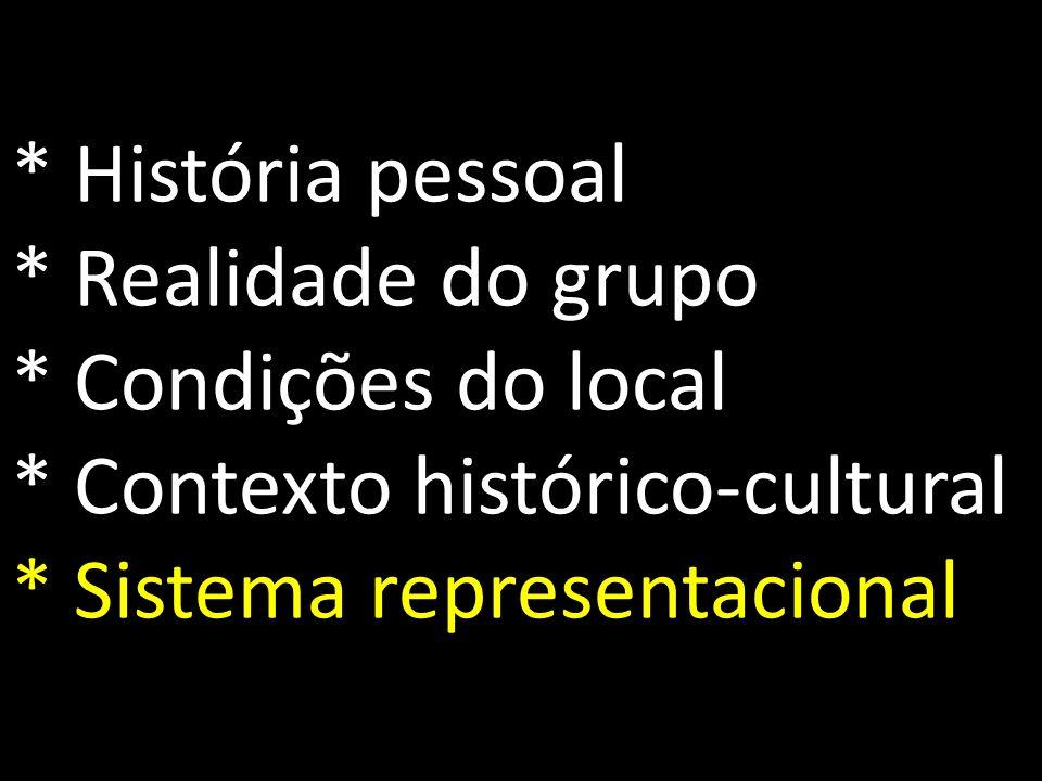 * História pessoal * Realidade do grupo * Condições do local * Contexto histórico-cultural * Sistema representacional