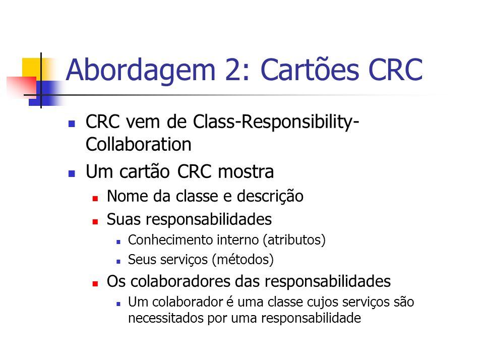Abordagem 2: Cartões CRC CRC vem de Class-Responsibility- Collaboration Um cartão CRC mostra Nome da classe e descrição Suas responsabilidades Conheci