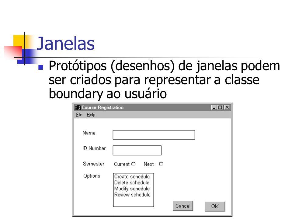 Janelas Protótipos (desenhos) de janelas podem ser criados para representar a classe boundary ao usuário