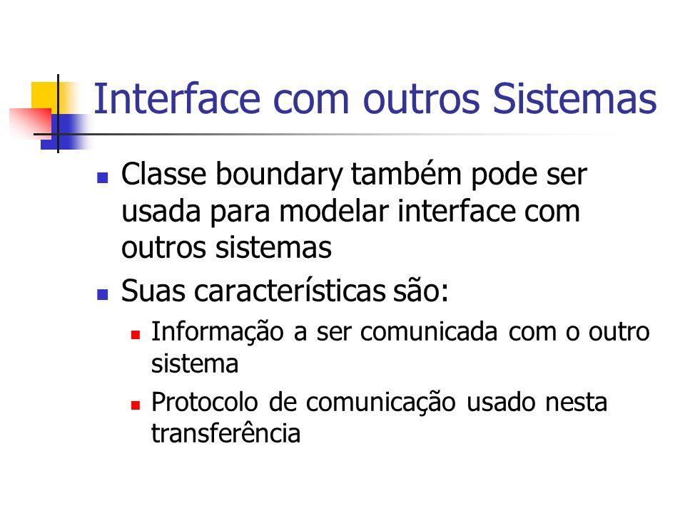 Interface com outros Sistemas Classe boundary também pode ser usada para modelar interface com outros sistemas Suas características são: Informação a