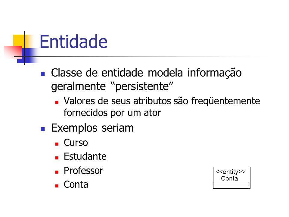 Entidade Classe de entidade modela informação geralmente persistente Valores de seus atributos são freqüentemente fornecidos por um ator Exemplos seri