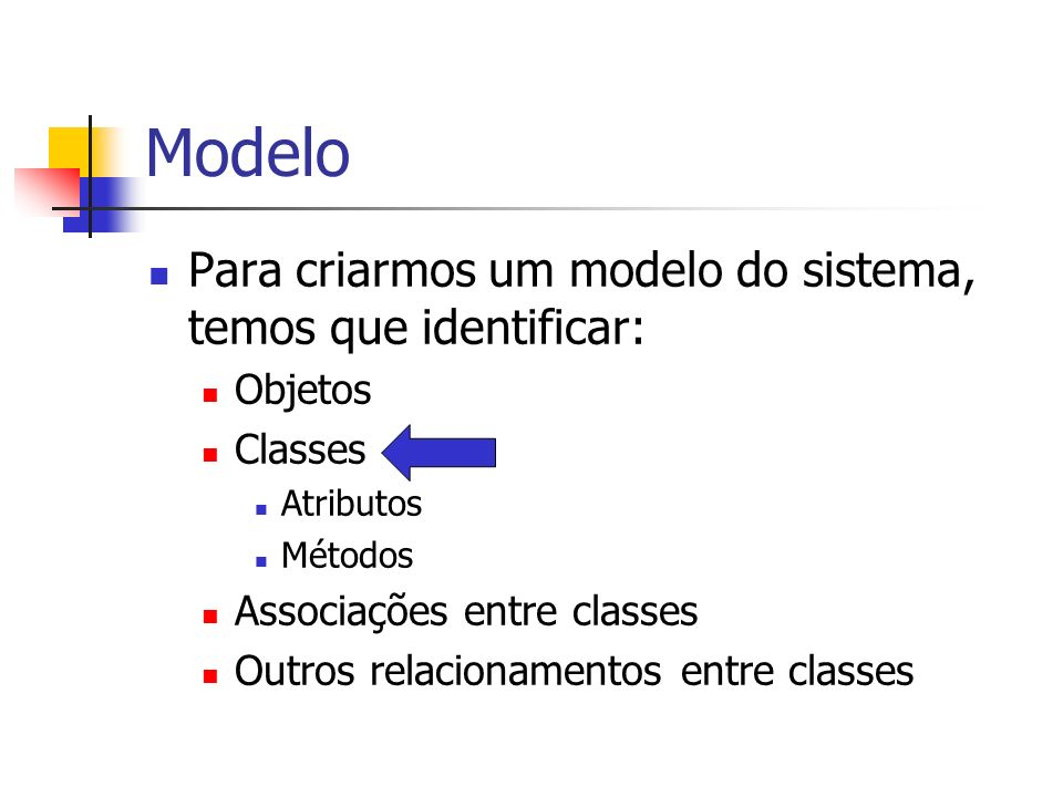 Modelo Para criarmos um modelo do sistema, temos que identificar: Objetos Classes Atributos Métodos Associações entre classes Outros relacionamentos e