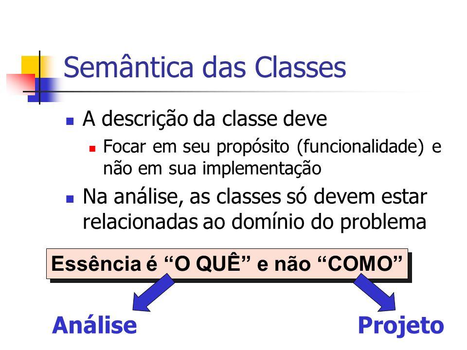 Semântica das Classes A descrição da classe deve Focar em seu propósito (funcionalidade) e não em sua implementação Na análise, as classes só devem es