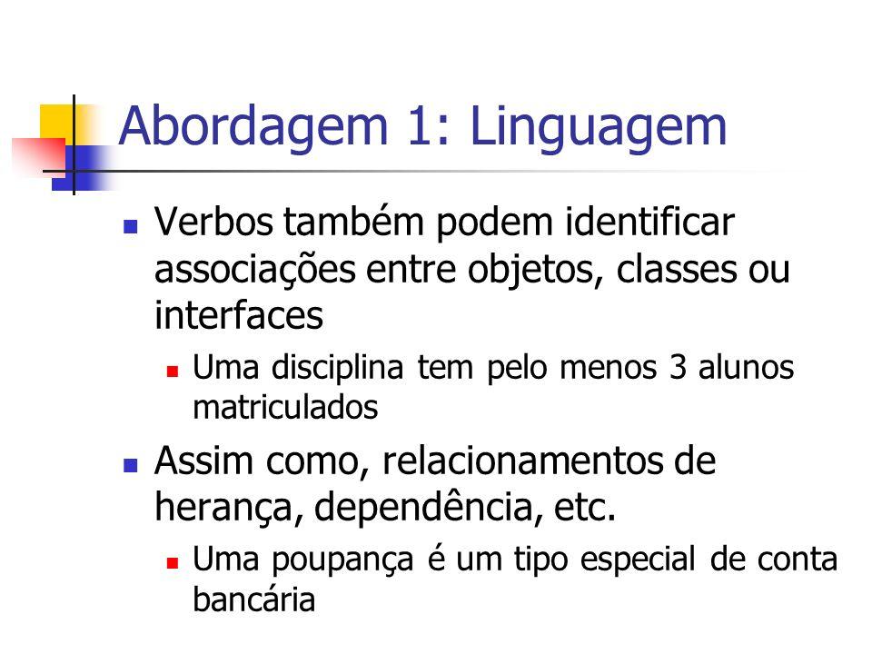 Abordagem 1: Linguagem Verbos também podem identificar associações entre objetos, classes ou interfaces Uma disciplina tem pelo menos 3 alunos matricu