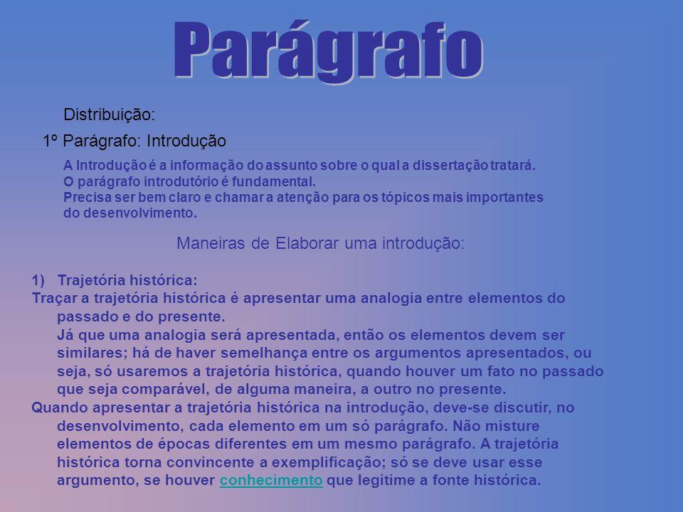 Distribuição: 1º Parágrafo: Introdução A Introdução é a informação do assunto sobre o qual a dissertação tratará. O parágrafo introdutório é fundament