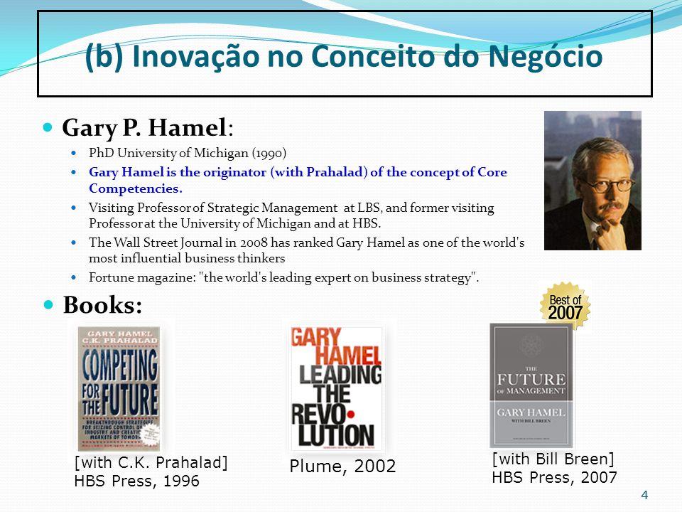 55 Management MUST be Reinvented (Gary Hamel) http://www.youtube.com/watch?v=TVX8XhiR1UY Building Organizations for the Future (Gary Hamel) http://www.vimeo.com/1112609 (b) Inovação no Conceito do Negócio