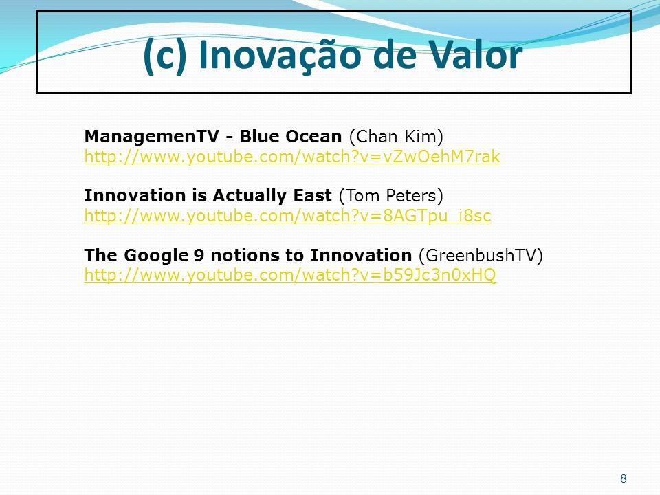 8 (c) Inovação de Valor ManagemenTV - Blue Ocean (Chan Kim) http://www.youtube.com/watch?v=vZwOehM7rak Innovation is Actually East (Tom Peters) http:/