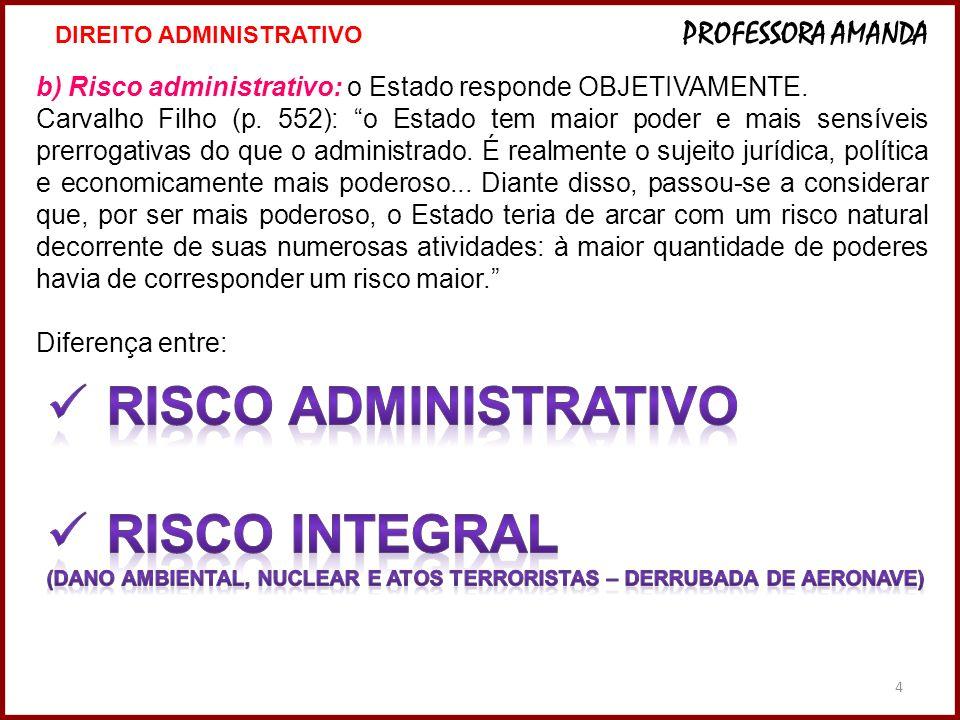 4º e b) Risco administrativo: o Estado responde OBJETIVAMENTE. Carvalho Filho (p. 552): o Estado tem maior poder e mais sensíveis prerrogativas do que