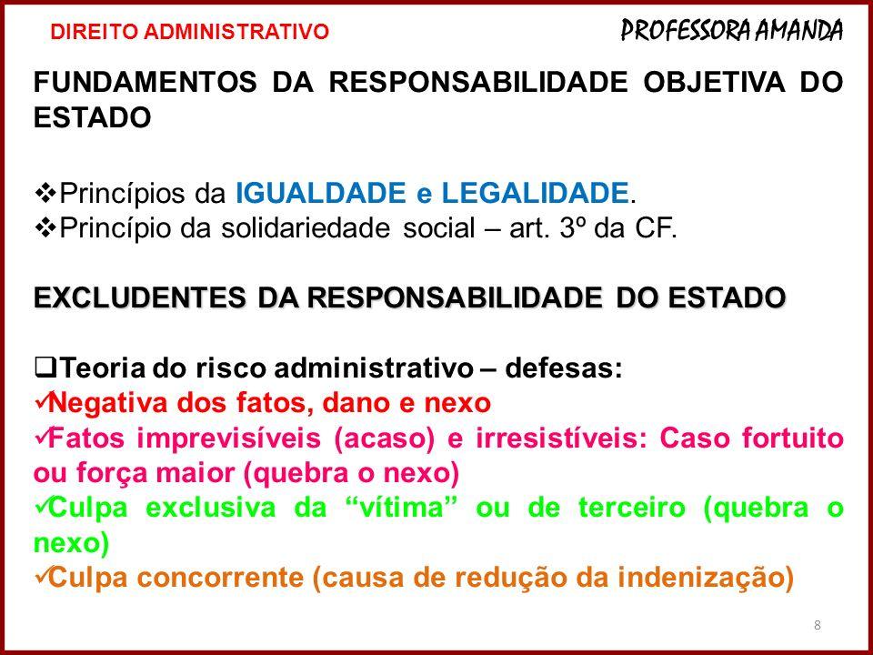 8 FUNDAMENTOS DA RESPONSABILIDADE OBJETIVA DO ESTADO Princípios da IGUALDADE e LEGALIDADE. Princípio da solidariedade social – art. 3º da CF. EXCLUDEN
