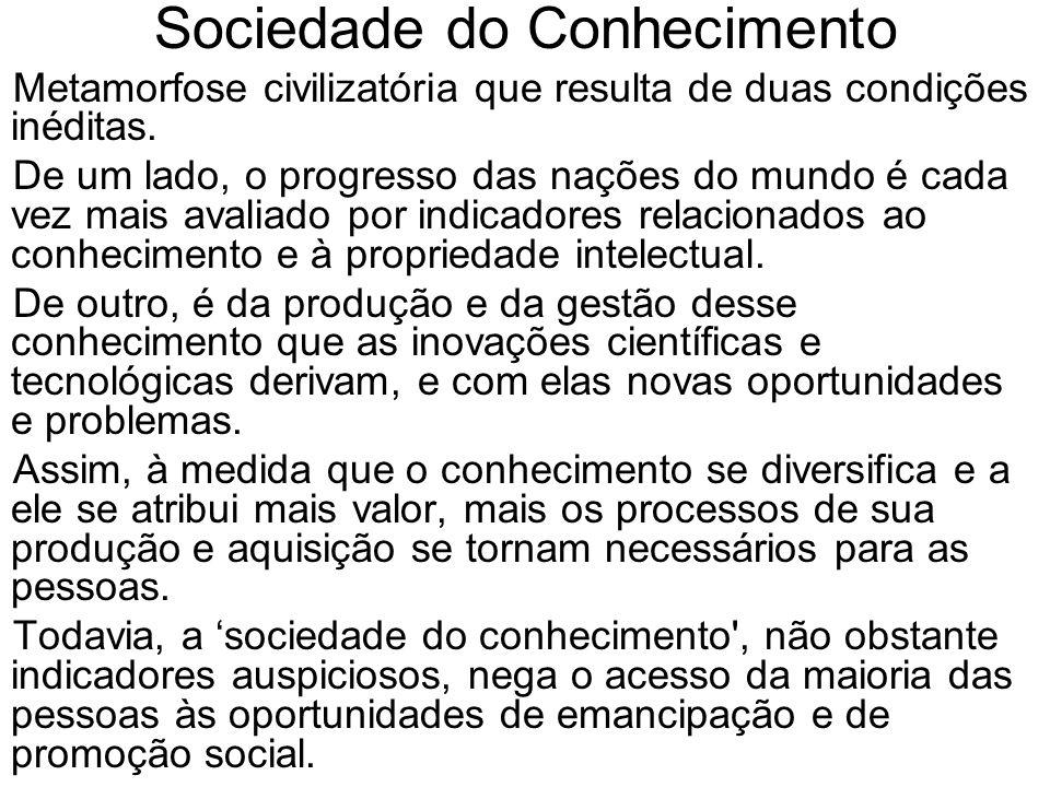 Sociedade do Conhecimento Metamorfose civilizatória que resulta de duas condições inéditas. De um lado, o progresso das nações do mundo é cada vez mai