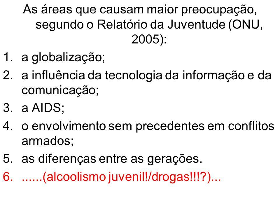 As áreas que causam maior preocupação, segundo o Relatório da Juventude (ONU, 2005): 1.a globalização; 2.a influência da tecnologia da informação e da
