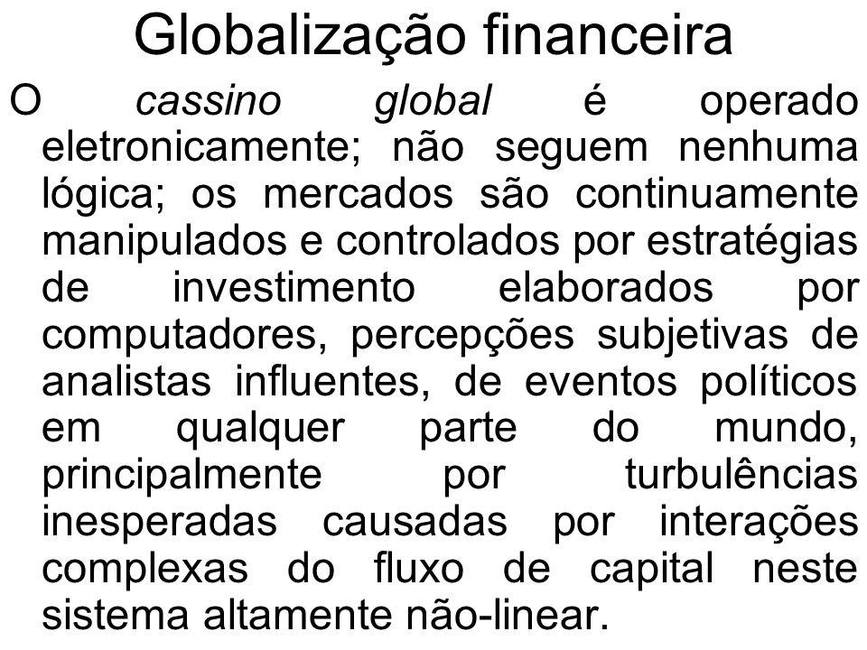 Globalização financeira O cassino global é operado eletronicamente; não seguem nenhuma lógica; os mercados são continuamente manipulados e controlados