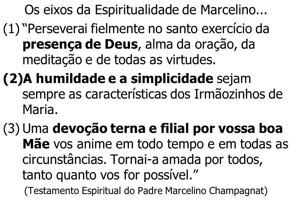 Os eixos da Espiritualidade de Marcelino... (1)Perseverai fielmente no santo exercício da presença de Deus, alma da oração, da meditação e de todas as